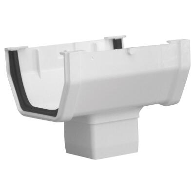 Raingo 5 In. Vinyl White Gutter Drop Outlet