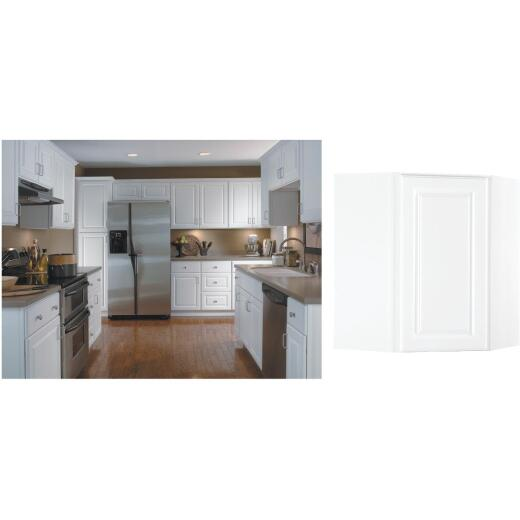 Continental Cabinets Hamilton 24 In. W x 30 In. H x 12 In. D Satin White Maple Corner Wall Kitchen Cabinet