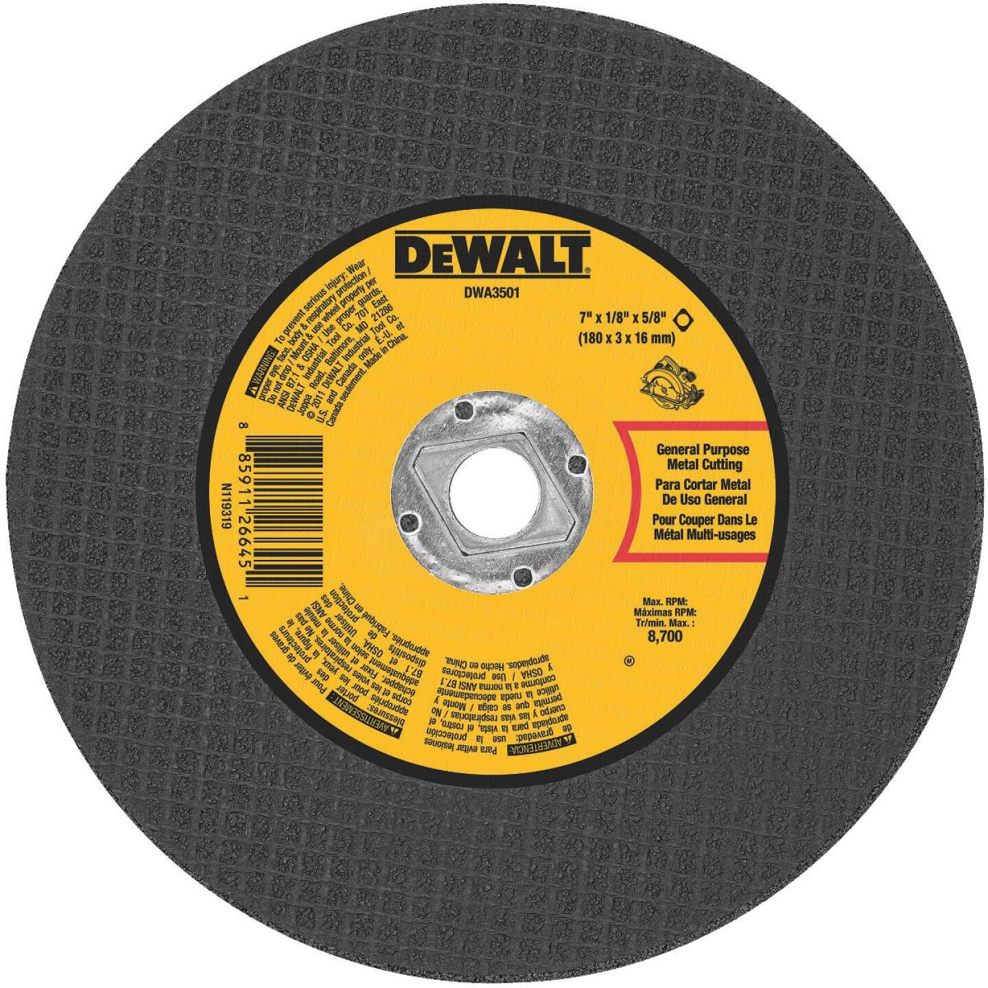 DeWalt Type 1 7 In. x 1/8 In. x 5/8 In. Metal Cut-Off Wheel Image 1