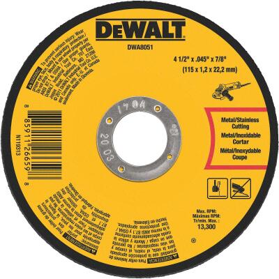 DeWalt Type 1 4-1/2 In. x 0.045 In. x 7/8 In. Metal/Stainless Cut-Off Wheel