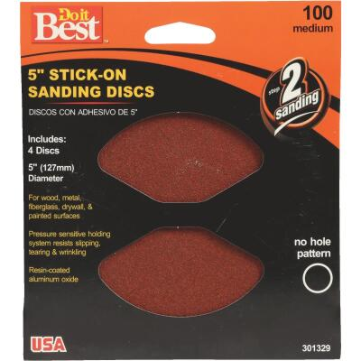 Do it Best 5 In. 100 Grit Stick-On Sanding Disc (4-Pack)