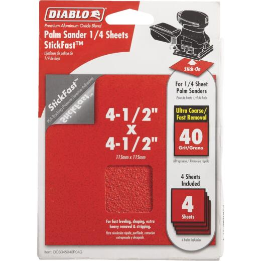 Diablo StickFast 40 Grit 4-1/2 In. x 4-1/2 In. 1/4 Sheet Palm Sander Power Sanding Sheet (4-Pack)