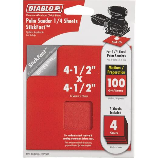 Diablo StickFast 100 Grit 4-1/2 In. x 4-1/2 In. 1/4 Sheet Palm Sander Power Sanding Sheet (4-Pack)
