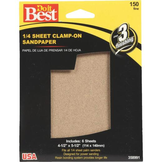 Do it Best 150 Grit 1/4 Sheet Power Sanding Sheet (6-Pack)