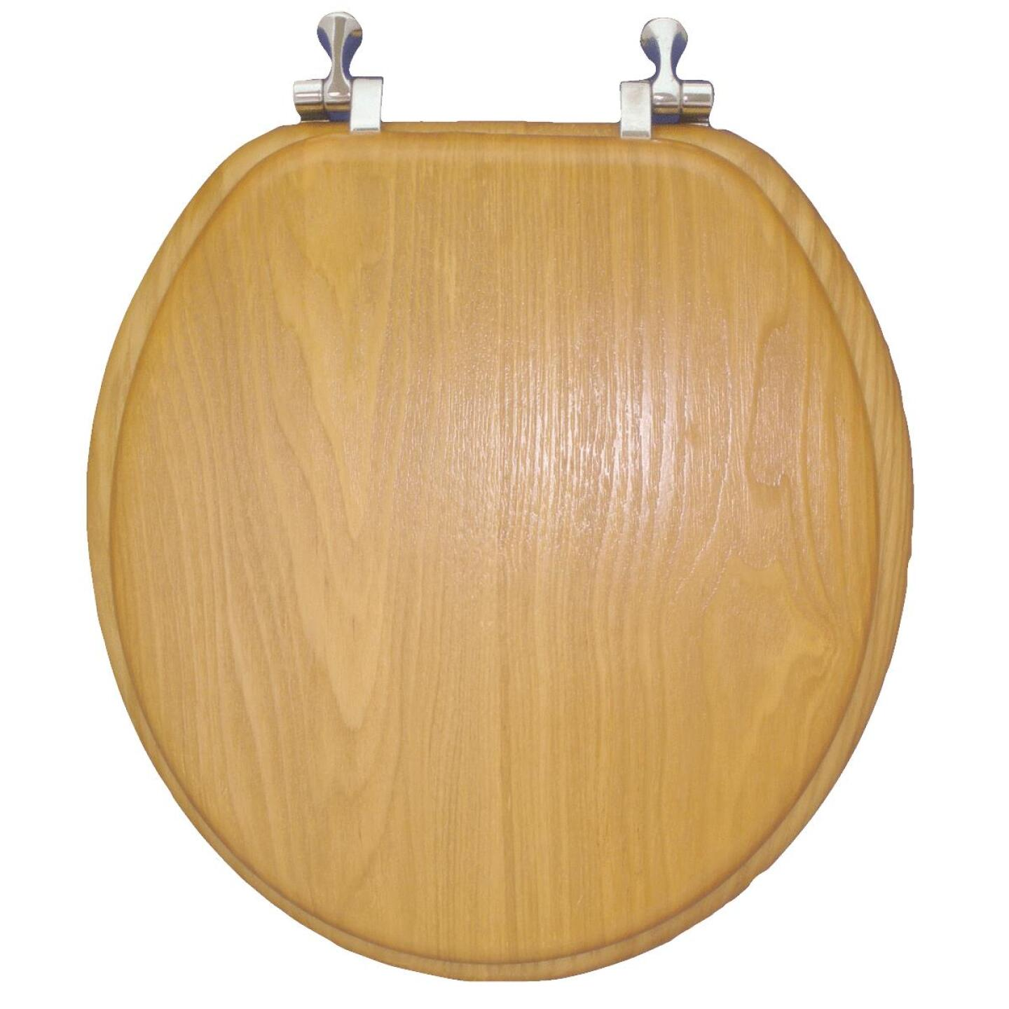 Home Impressions Round Closed Front Oak Veneer Toilet Seat Image 2