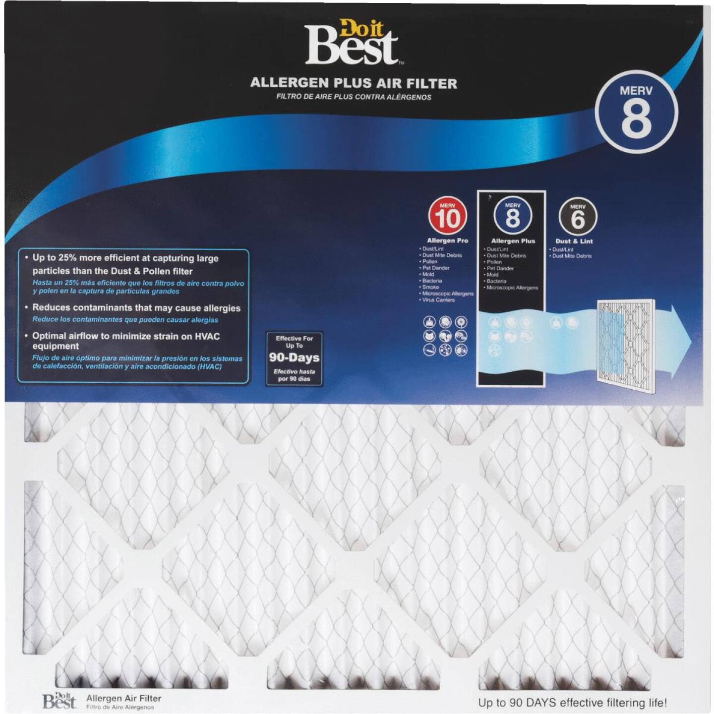 Do it Best 14 In. x 24 In. x 1 In. Allergen Plus MERV 8 Furnace Filter Image 1
