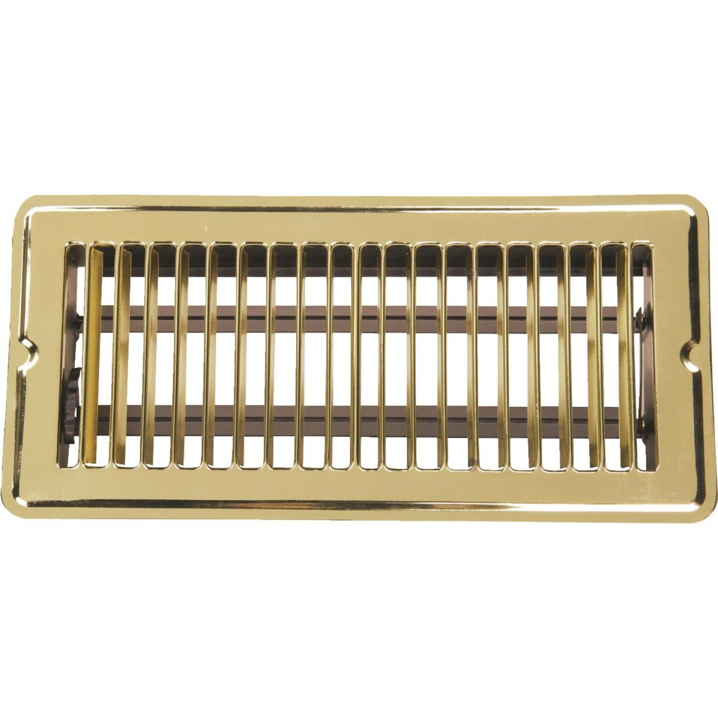 Home Impressions 4 In. x 10 In. Bright Brass Steel Floor Register Image 1