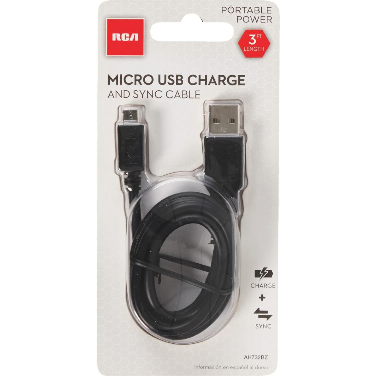 RCA 3 Ft. Black Micro USB Charging & Sync Cable Image 4