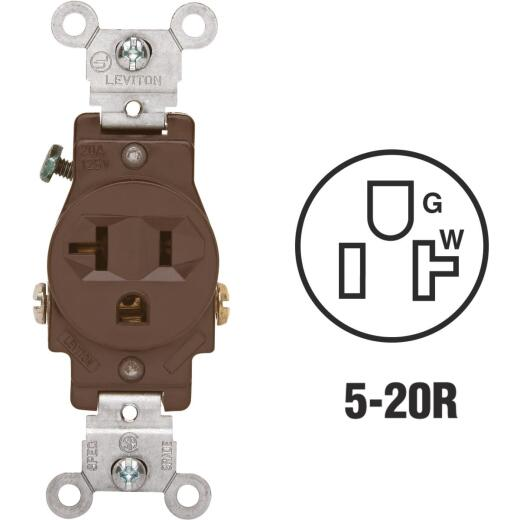 Leviton 15A Brown Commercial Grade 5-20R Shallow Single Outlet