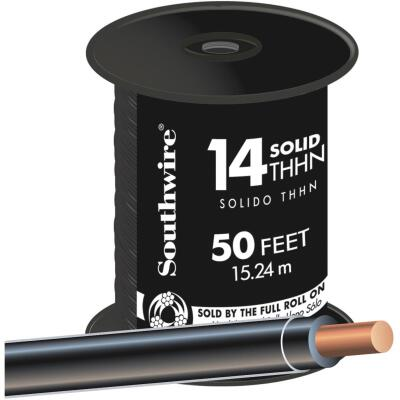 Southwire 50 Ft. 14 AWG Solid Black THHN Wire
