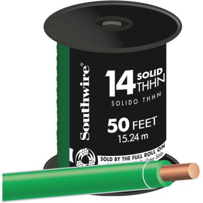 Southwire 50 Ft. 14 AWG Solid Green THHN Wire