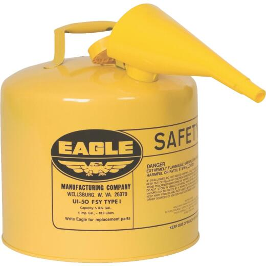 Eagle 5 Gal. Type I Galvanized Steel Gasoline Safety Fuel Can, Yellow
