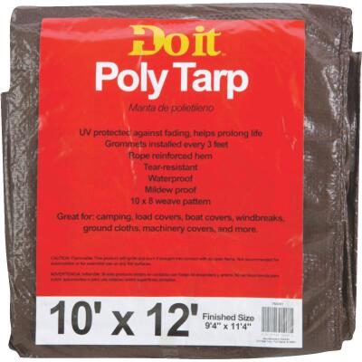 Do it Green/Brown Woven 10 Ft. x 12 Ft. Medium Duty Poly Tarp
