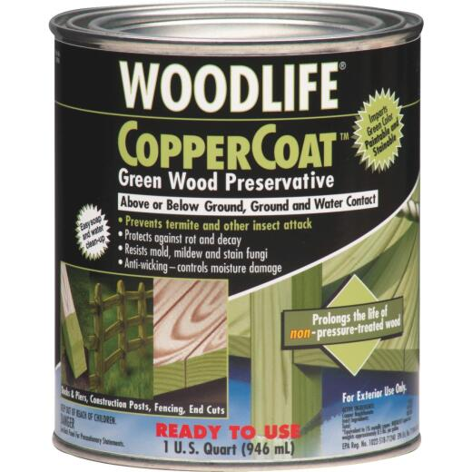 Rust-Oleum Woodlife Water-Based Coppercoat Green Wood Preservative, 1 Qt.