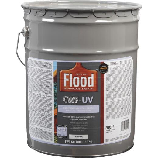 Flood CWF-UV Oil-Modified Fence Deck and Siding Wood Finish, Redwood, 5 Gal.