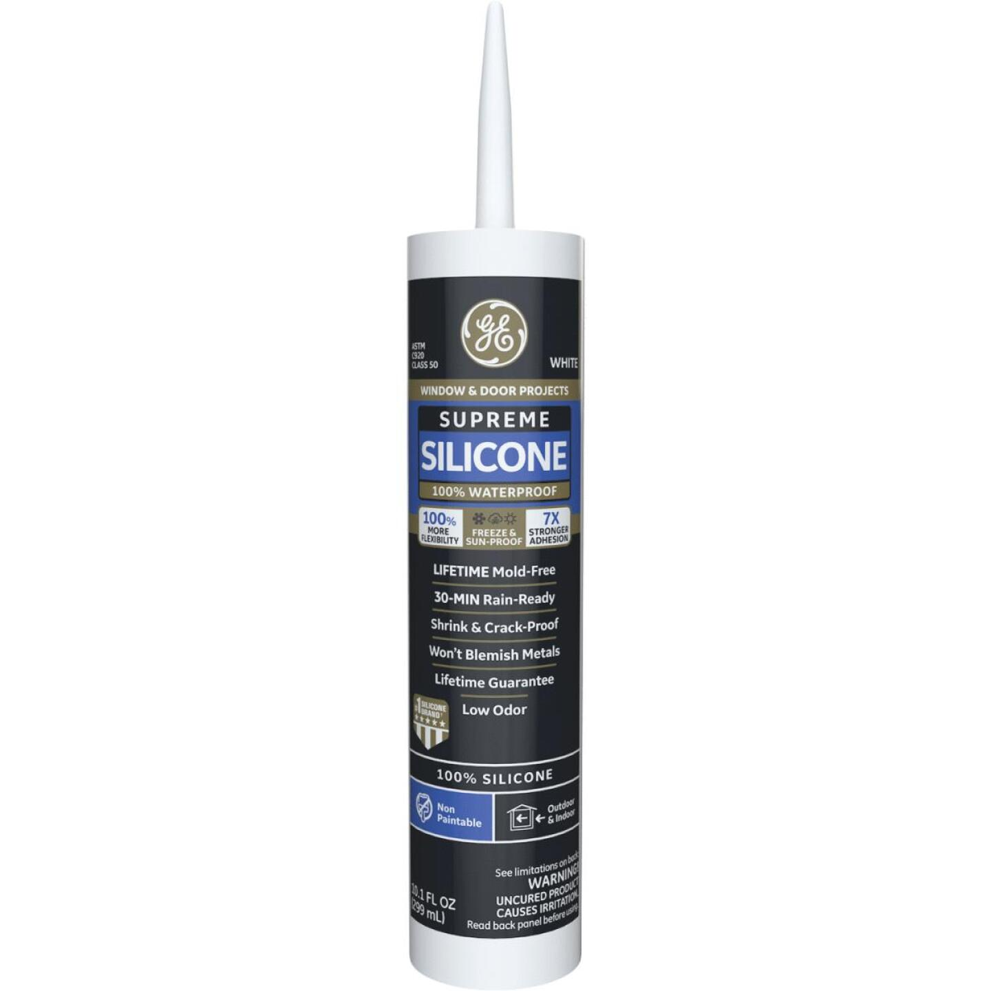 GE Supreme Silicone Window & Door Sealant, White, 10.1oz Image 1