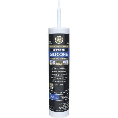 GE Supreme Silicone Window & Door Sealant, Clear, 10.1oz
