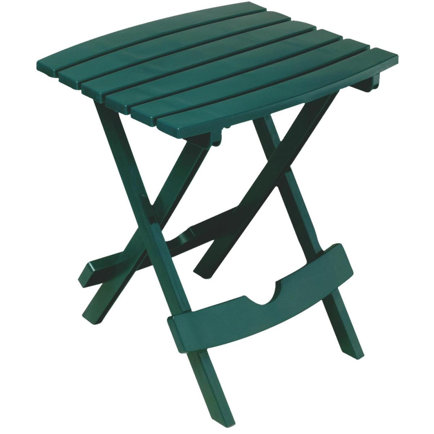 Adams Quik-Fold Hunter Green 15 In. x 17.5 In. Rectangle Resin Folding Side Table Image 1